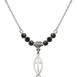 N20 Birthstone Necklace<br>Fish / Cross<br>Available in 15 Colors