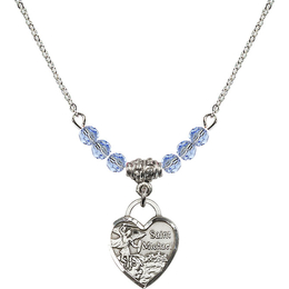 N20 Birthstone Necklace<br>St. Michael Heart<br>Available in 15 Colors