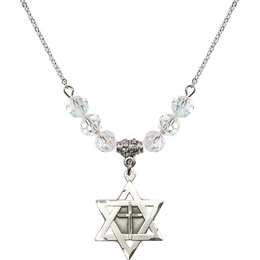 N30 Birthstone Necklace<br>Star of David w/ Cross<br>Available in 15 Colors