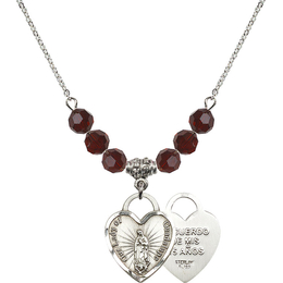 N30 Birthstone Necklace<br>O/L of Guadalupe Heart / Recuerdo<br>Available in 15 Colors