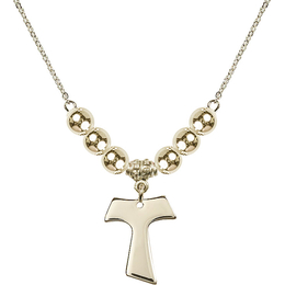 N32 Birthstone Necklace<br>Tau Cross