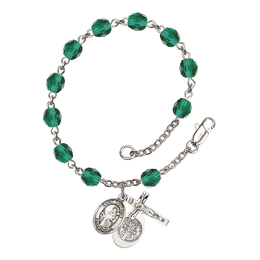 RB6000 Series Rosary Bracelet<br>St. Benedict<br>Available in 12 Colors