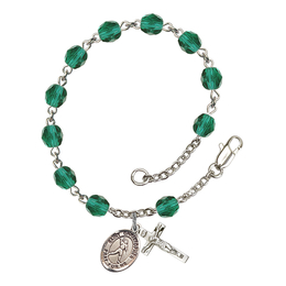 RB6000 Series Rosary Bracelet<br>St. Christopher/Football<br>Available in 12 Colors